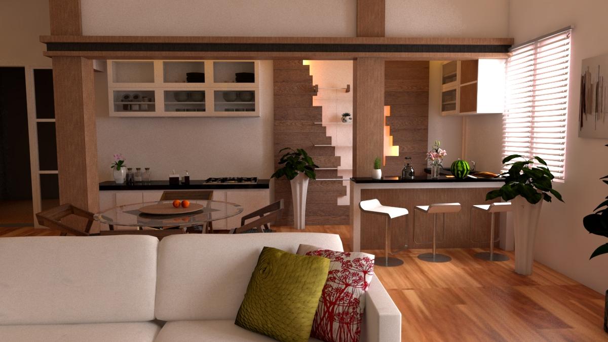 ruang keluarga, ruang makan, dapur, dan pantri yang menyatu dalam satu ruang