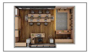 Nampak denah desain ruangan kantor dengan area kerja dan area santai
