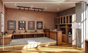 area santai kantor  dengan tempat lesehan dan mini bar